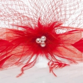 Romantic Red Feather Net Yarn Briadl Hat with Imitation Pearls ACCHP092FOR