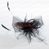 Simple Black Tulle Hairpins Birdcage Veils with Feather ACCHP086FOR