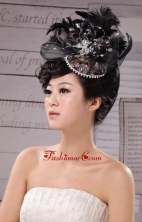 Special Hat Hairpin Feather Tulle Black Outdoor and Wedding XTH010FOR