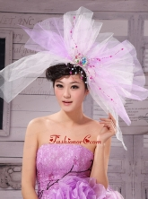 Sweet Lavender and White Corolla Large Hat Headpieces XTH039FOR