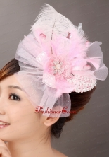 Sweet Tulle Feather Side Clamp Diamond Hairpins Birdcage Veils TH031FOR