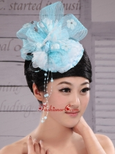 Tulle Aqua Blue Fully Handmade Headpices With Rhinestones and Flowers Decorate For Party XTH086FOR