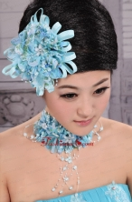 Tulle Aqua Blue Imitation Pearls and Flowers Decorate For Party In 2013 New York XTH087FOR