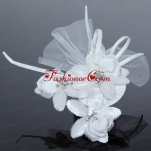 Tulle White Hair Flower with Rhinestone for Wedding ACCHP056FOR