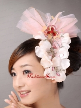 Tulle and Organza Beaded and Flowers Decorate Baby Pink Headpices TH062FOR