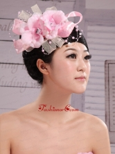 Wedding Party Pink Big Flower Pearls Chiffon and Tulle Headdress Bride XTH059FOR