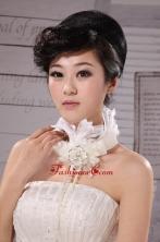 White Chiffon Flower Silk Ribbon Choker Necklace XTH014FOR