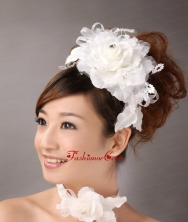 White Exquisite Ribbons Flower Organza Fascinators TH079FOR