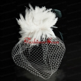 White Feather Elegant Net Yarn Briadl Hat with Imitation Pearls ACCHP093FOR