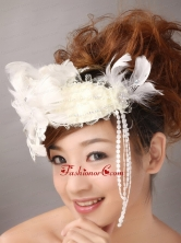 White Feather Wedding and Outdoor Lace Women s Fascinators TH077FOR
