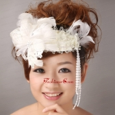 White Feather Wedding and Special Occasion Lace Fascinators TH078FOR