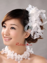 White Hand Made Flowers Feather Wedding Fascinators  TH087FOR