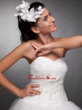 White Hand Made Flowers Taffeta Headpieces  JDZH08FOR