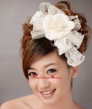 White Imitation Pearls Flower Sweet Tulle Fascinators TH080FOR