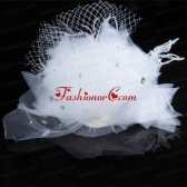 White Rhinestone Tulle Hair Ornament for Women ACCHP095FOR