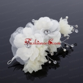 White Rhinestone and Pearl Fascinators for Wedding ACCHP004FOR