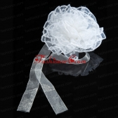 White Sash Organza Wedding Fascinators for Summer ACCHP072FOR