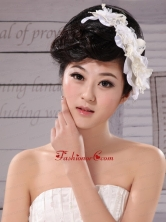 White Tulle Imitation Pearls With Hand Made Flowers Fascinators  XTH011FOR