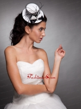 White and Black Beaded Bowknot Net Yarn Bridal Fascinators JDZH018FOR