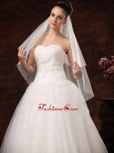 2 Layers Graceful Organza Ribbon Edge Bridal Veils RR091302FOR