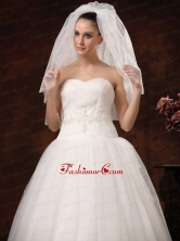 2 Layers Graceful Tulle Ribbon Edge Wedding Veil HM8861FOR