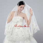 2014 Cheap Two-Tier White Fingertip Veil with Lace Edge ACCWEIL030FOR