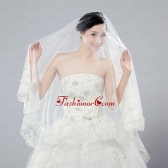 2014 One-Tier Tulle Wedding Veils with Scalloped Edge ACCWEIL027FOR