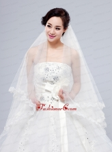 2014 Simple Four-Tier Bridal Veils with Lace Appliques Edge ACCWEIL034FOR