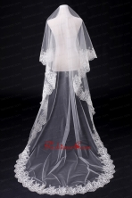 2014 Simple One-Tier Bridal Veils with Lace Appliques Edge ACCWEIL029FOR