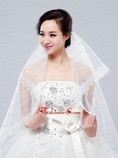 2014 Simple One-Tier Bridal Veils with Lace Appliques Edge ACCWEIL035FOR