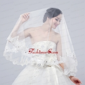 2014 Two-Tier Tulle Lace Appliques Edge Bridal Veils ACCWEIL009FOR