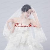 One Tier Drop Veil Bridal Veils with Lace Appliques Edge ACCWEIL023FOR