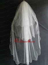 Beading Decorate Tulle Three Layers Graceful Wedding Veil RR111606FOR