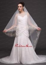 Beading Tulle Modest Bridal Veil For Wedding HM8811FOR