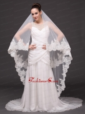 Beautiful Two Tier Cathedral Wedding Veil With Lace Applique Edge HM8850FOR
