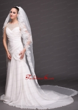 Bridal Veils For Wedding With Two Tier Lace HM8817FOR