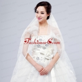 Elegant One-Tier Lace Edge Elbow Veils for Wedding Party ACCWEIL004FOR