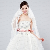 Elegant One Tier Oval Elbow Veils with Lace Edge ACCWEIL005FOR
