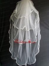 Four Layers Taffeta Ribbon Edge Tulle Wedding Veil RR111609FOR