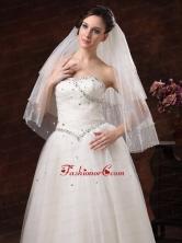 Gorgeous Pearl Trim Edge Tulle Bridal Veil RR091308FOR