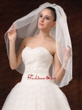 Graceful One Tier Beautiful Organza With Pearl Bridal Veils HM8860FOR