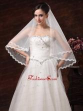 Graceful Pearl Trim Edge Organza Wedding Veils RR091309FOR