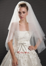 Graceful Two Tier Beautiful Organza Bridal Veil UNION29T05FOR
