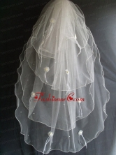 Hand Made Flowers And Beading Decorate Tulle Wedding Veil RR111608FOR