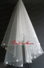Hand Made Flowers Decorate Tulle Beautiful Wedding Veil RR111612FOR