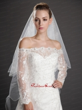 Inspired Layer Ribbon Edge Organza Bridal VeilUNION29T015FOR