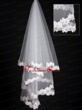 Lace Applique Edge Classical Organza Bridal Veil RR111621FOR
