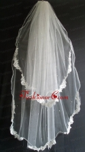 Lace Appliques And Beading Decorate Tulle Wedding Veil RR111613FOR