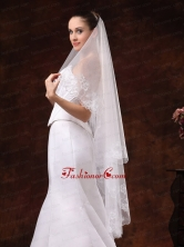 Lace Appliques And Two Tier Organza Veil For Wedding HM8806FOR