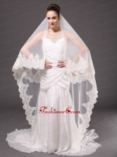 Lace Appliques One Tier Cathedral Tulle Graceful Wedding Veil HM8862FOR